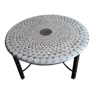 "1980s Asian Modern Maitland-Smith Hand Made ""Egg Shell"" Round Cocktail/Coffee Table For Sale"
