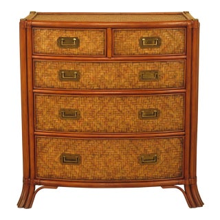 Maitland-Smith Bow Front Woven Leather Chest For Sale