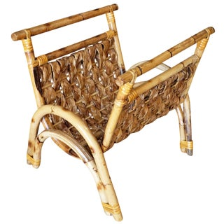 Restored Woven Wicker and Rattan Magazine Rack For Sale
