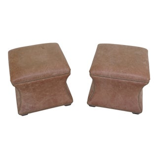 Modern Ethan Allen Leather Square Ottoman or Stools- A Pair For Sale