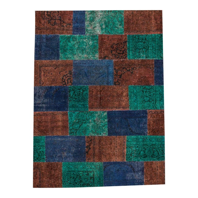 "Vintage Patchwork Overdyed Rug - 6'6"" X 8'10"" For Sale"