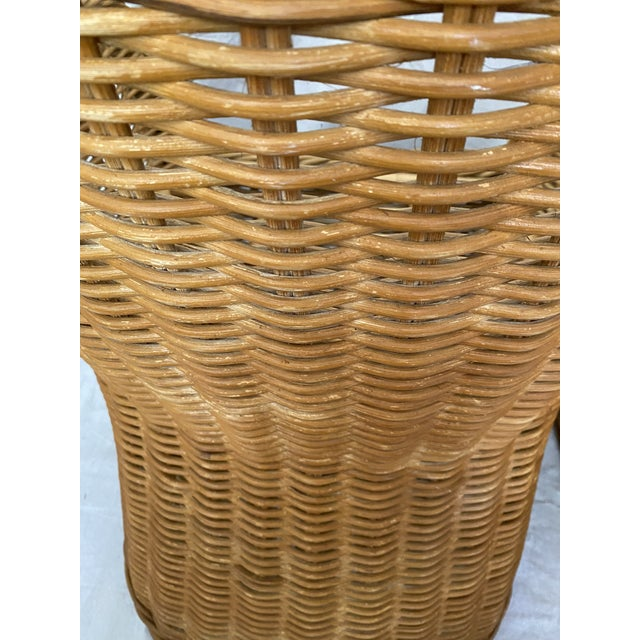 Vintage Woven Wicker Chairs With Braided Trim - a Pair For Sale - Image 9 of 13