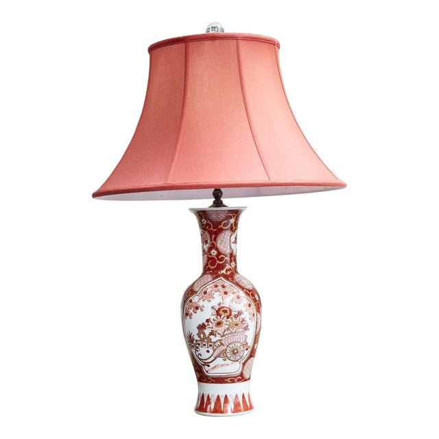 Vintage Japanese Imari Lamp in Red and Gold For Sale