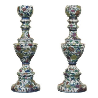 1990s Vintage Chinese Crackle Finish Porcelain Candle Holders- A Pair For Sale