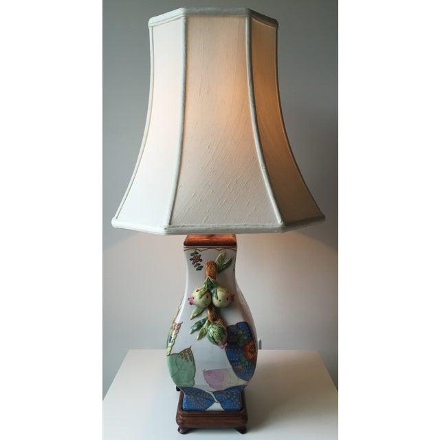 White Vintage Porcelain Tobacco Leaf Lamp For Sale - Image 8 of 11