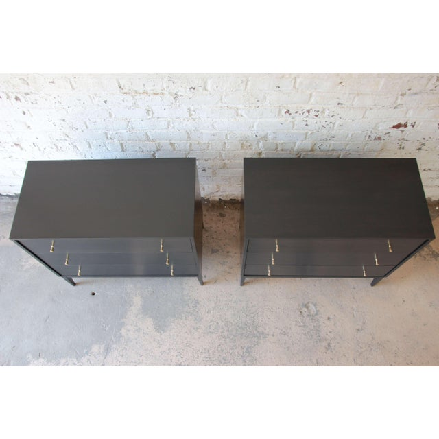 Brass Paul McCobb Planner Group Ebonized Three Drawer Bachelor Chests or Large Nightstands, Pair For Sale - Image 7 of 11