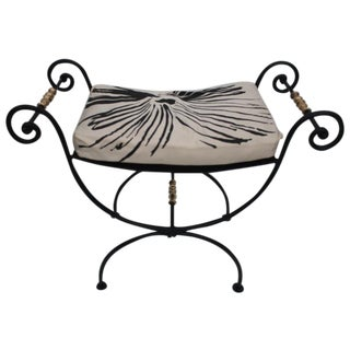 Vintage Wrougt Iron Scroll French Brass Bench