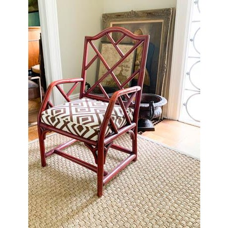 One of our favorite types of chairs. This mid century Chinese Chippendale fretwork chair has its original deep red finish...