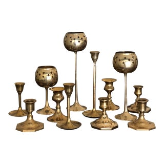 Vintage Bohemian Brass Candlesticks -Set of 12 For Sale