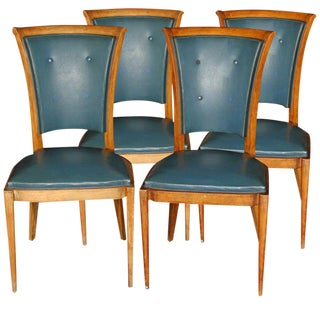 1940s Vintage French Button Backs Chairs- Set of 4 For Sale