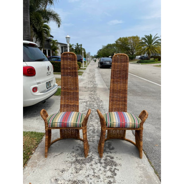 Chestnut Wicker Arm Chairs - a Pair For Sale - Image 8 of 11