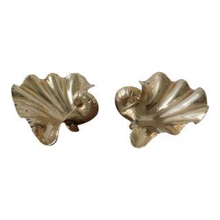 Large Brass Sea Shells - a Pair