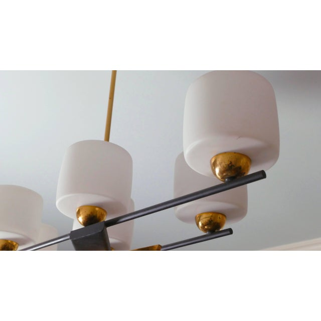 Arlus Brass and Opaline Chandelier, 1960s For Sale - Image 6 of 7