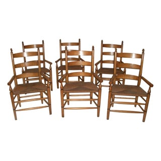 1990s Vintage Birch Ladder Back Chairs- Set of 6 For Sale