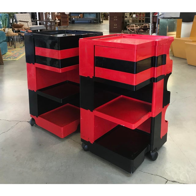 Mid-Century Modern Black and Red Original Vintage Joe Colombo Boby Trolley Carts -A Pair For Sale - Image 3 of 13