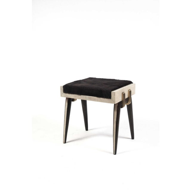 Metal Pianist Bench in Coal Black Shagreen and Bronze-Patina Brass by R&y Augousti For Sale - Image 7 of 8