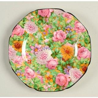 Crown Ducal Pink Chintz (Black Trim) Appetizer Plates - Set of 4 Preview