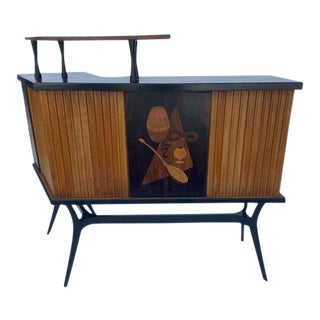 Late 1950's Mid Century Inlaid Bar For Sale