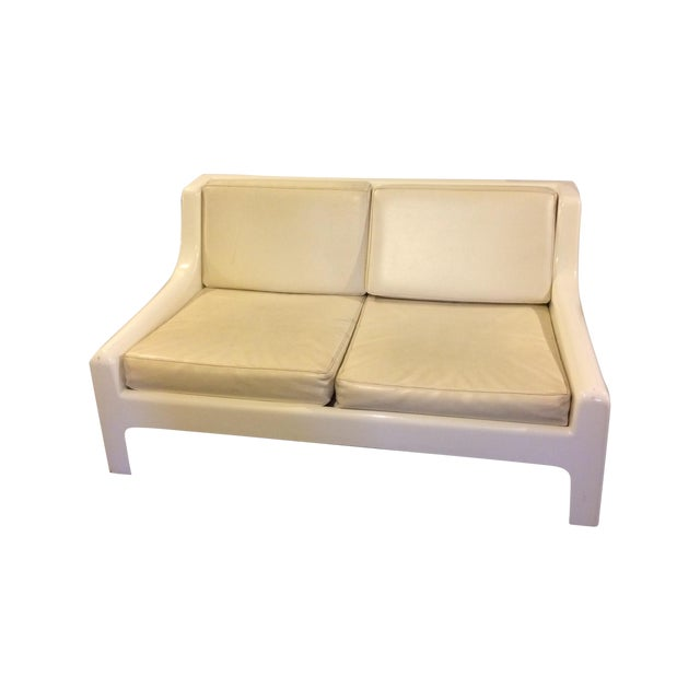 Danish Modern Fiberglass & Leather Sofa - Image 1 of 4