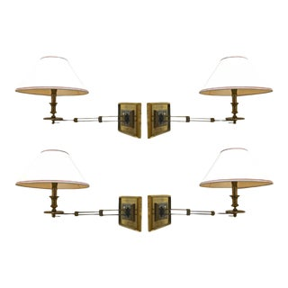 Maison Jansen Rare Set of 4 Refined Gold Extendable Sconces(attributed) For Sale