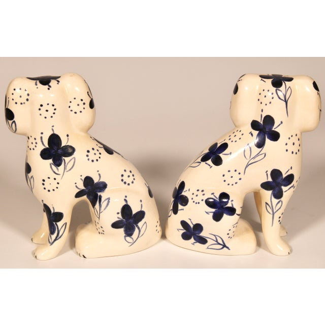 Antique Blue and White Staffordshire Dogs - a Pair For Sale - Image 10 of 12