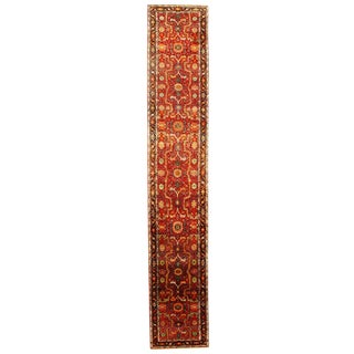 Traditional Pasargad Ny Serapi Design Hand-Knotted Runner Rug - 3' X 17'3' For Sale