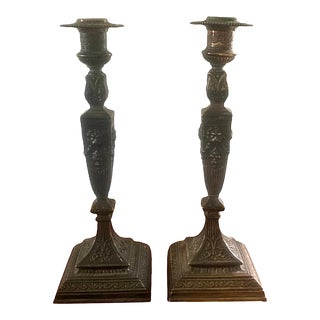 Neoclassical Style Bronze Candlesticks With Lion Heads, a Pair For Sale