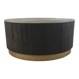 Industrial Modern Round Wood Cocktail Table For Sale