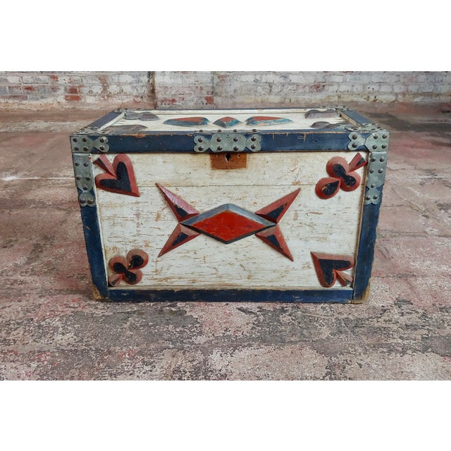19th Century Americana Painted Trunk For Sale - Image 4 of 10