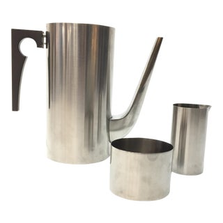 "Arne Jacobsen for Stelton Stainless Steel ""Cylinda"" Coffee Set - Set of 3 For Sale"