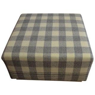 Vintage Wool Blanket Upholstered Ottoman For Sale