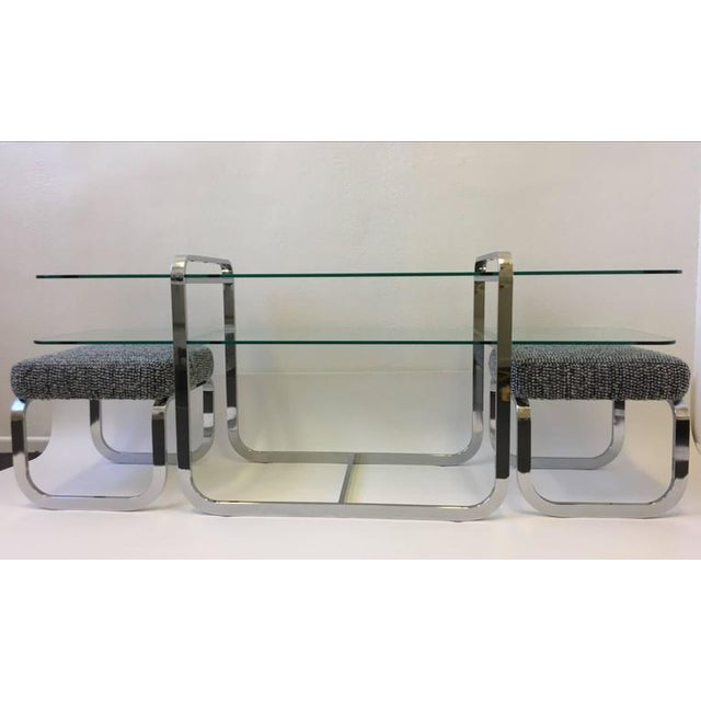 Chrome and Glass Console Table and Pair of Ottomans by DIA - Image 10 of 10