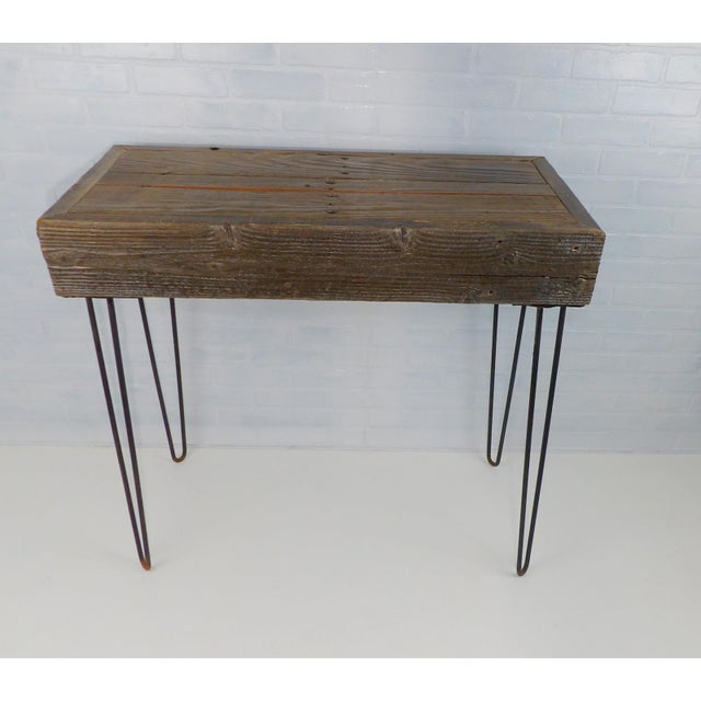 Reclaimed Fingered Redwood Hairpin Legs Sofa Table For Sale - Image 11 of 11