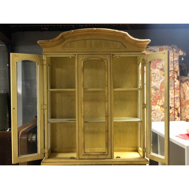 1970s Vintage Yellow Faux Bamboo China Cabinet For Sale - Image 5 of 13