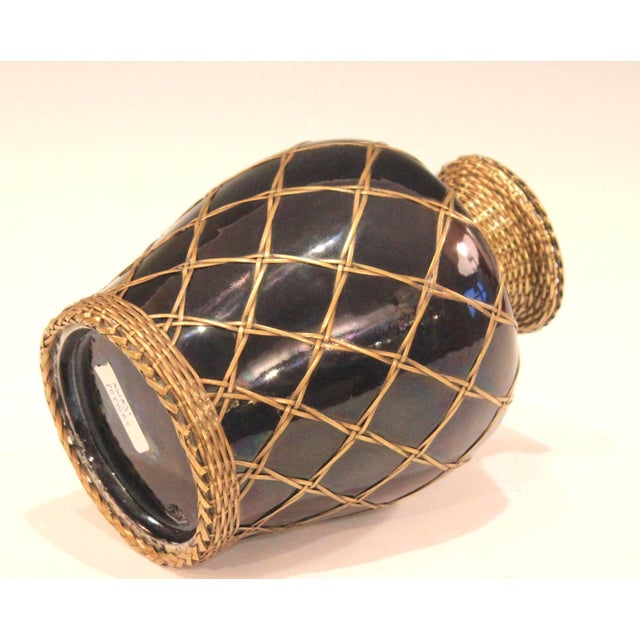 Antique Awaji Pottery Aubergine Monochrome Meiping Form Bronze Weave Signed For Sale - Image 4 of 10