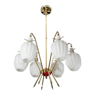 Stilnovo Chandelier in Brass and Murano Glass Italy 1950s For Sale