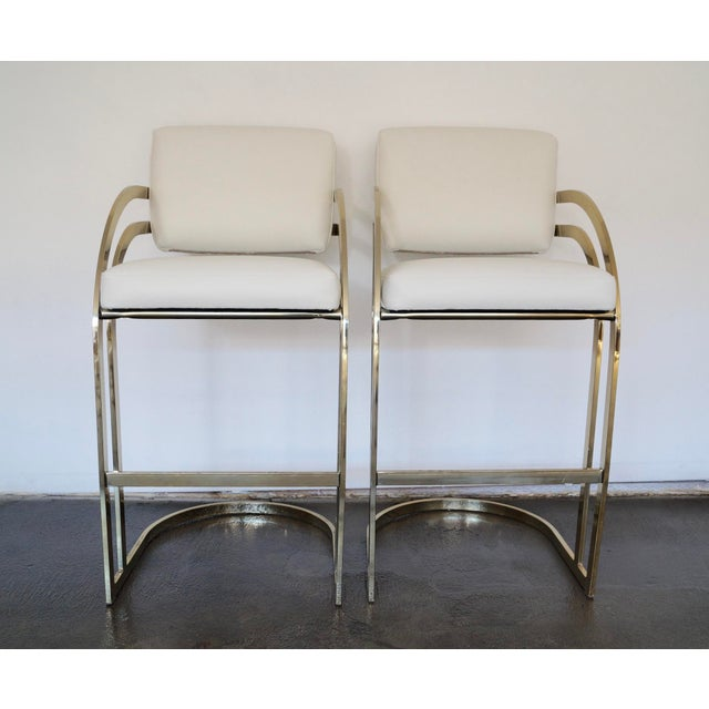 Hollywood Regency Cantilevered Bar Stools in Brass - A Pair - Image 4 of 8