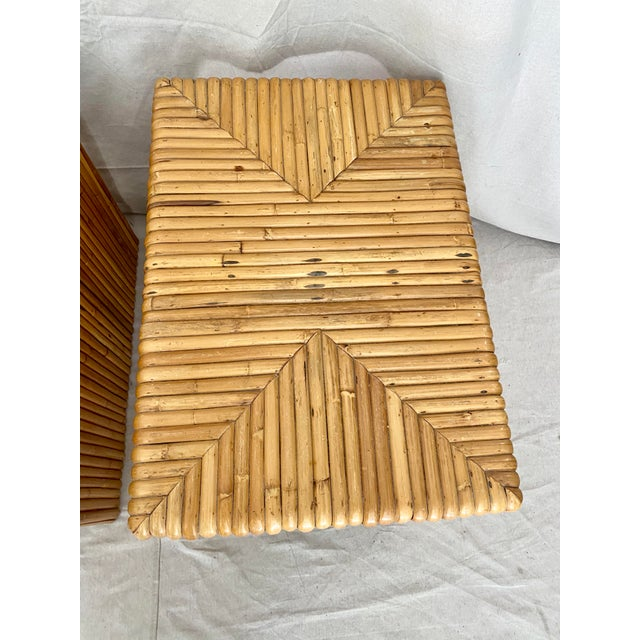 Wood Vintage Split Reed Rattan Waterfall End Tables- a Pair For Sale - Image 7 of 13
