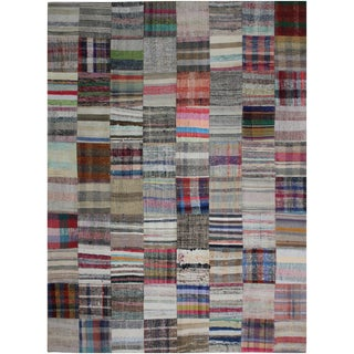"""Hand Knotted Patchwork Rug - 9'9"""" X 7'10"""" For Sale"""