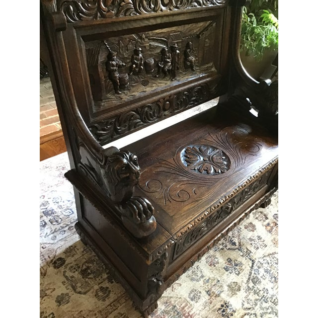 Late 19th Century Antique Carved Oak Bench For Sale In Richmond - Image 6 of 13