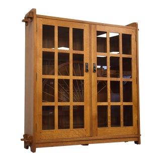L & Jg Stickley Mission Arts and Crafts Oak Bookcase For Sale