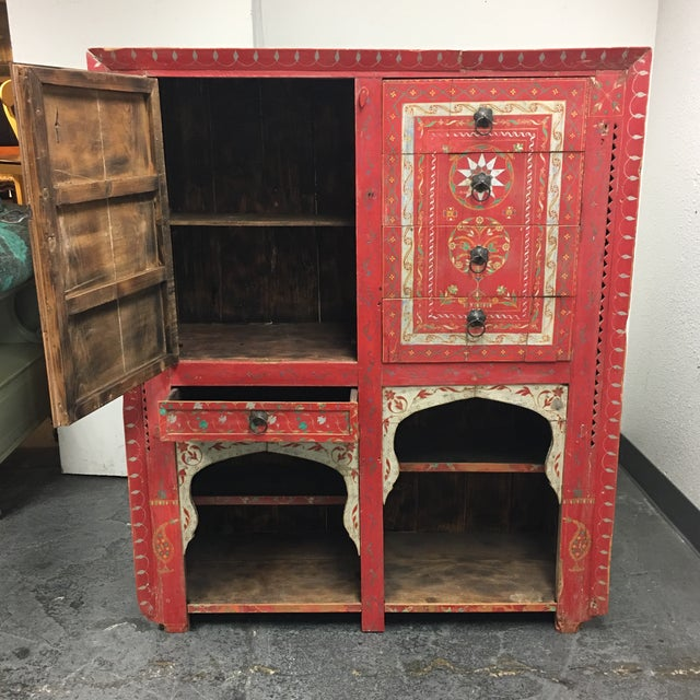 Wood Vintage Hand Painted Moroccan Armoire For Sale - Image 7 of 11