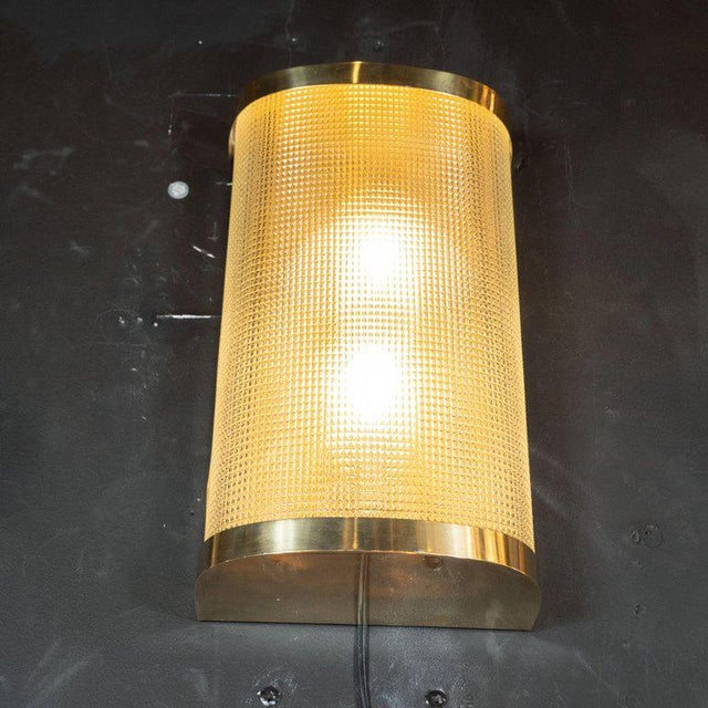 Mid-Century Modern Brass Wrapped Sconces With Rectilinear Textured Glass Shades - a Pair For Sale - Image 4 of 7