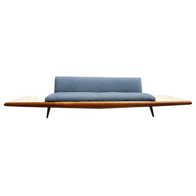 Craft & Associates Mid Century Modern Adrian Pearsall Platform Sofa With Travertine End Tables by Craft Associates For Sale - Image 4 of 8