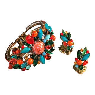 1950s Vintage Multi-Color Rhinestone Clamper Cuff Bracelet and Earrings- 3 Pieces For Sale