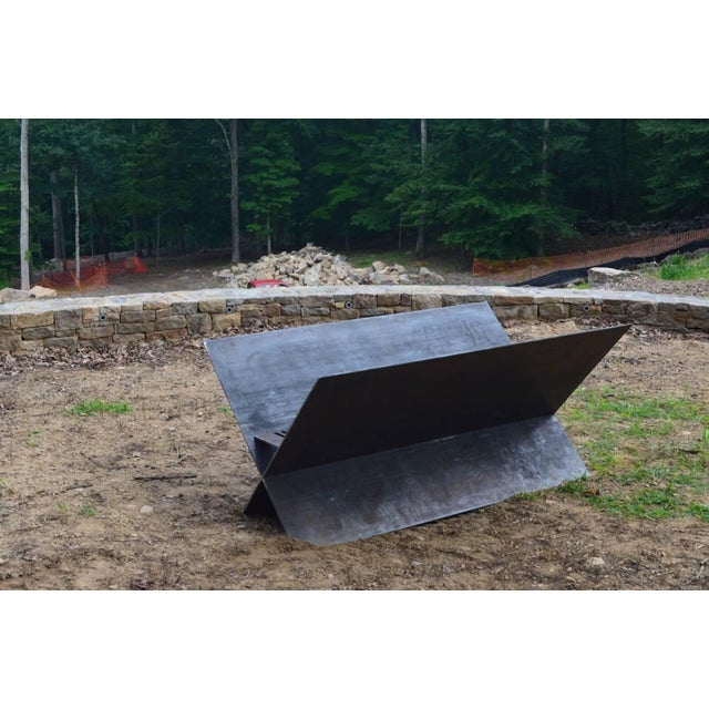 Contemporary Minimalist Steel Patio or Garden Fire Pit by Scott Gordon For Sale - Image 4 of 5
