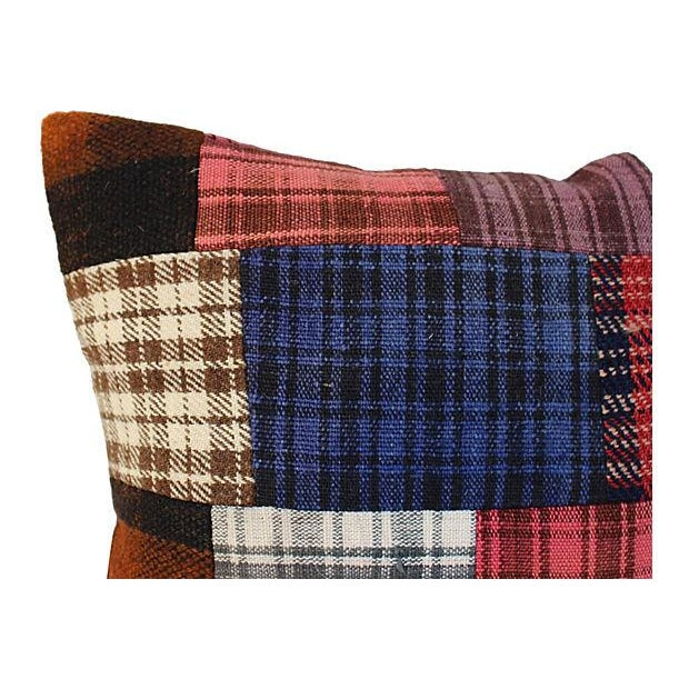 Country Patchwork Plaid Wool Pillow For Sale - Image 3 of 3