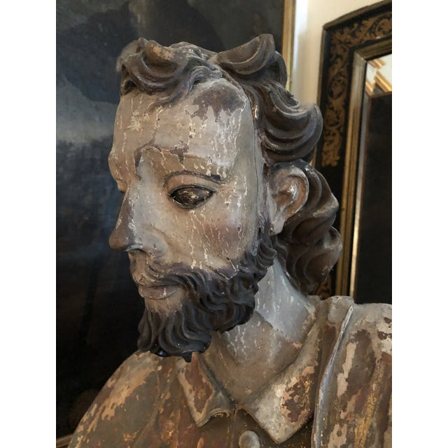17th Century Continental Carved Wood Gesso Polychrome Apostle Sculpture For Sale - Image 11 of 13