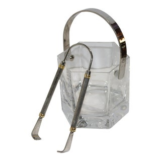 Petite Crystal Ice Bucket With Chrome & Brass Tongs For Sale