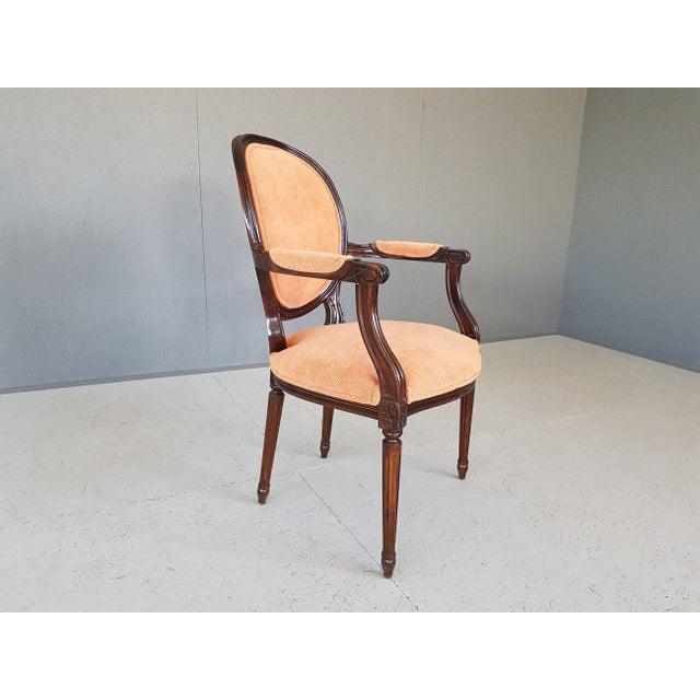 Mid-Century Modern Louis XVI Velvet Upholstery Arm Chair For Sale - Image 3 of 13